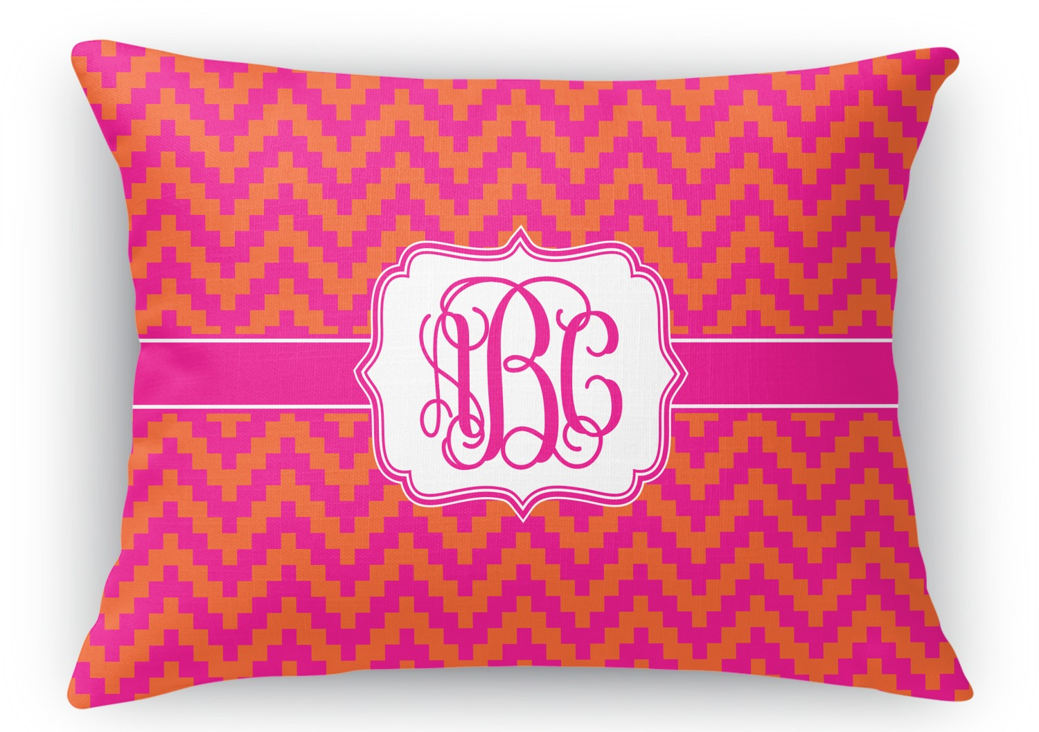 Pink & Orange Chevron Rectangular Throw Pillow - 12