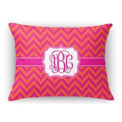 Pink & Orange Chevron Rectangular Throw Pillow Case (Personalized)