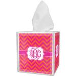 Pink & Orange Chevron Tissue Box Cover (Personalized)