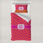Pink & Orange Chevron Toddler Bedding w/ Monogram