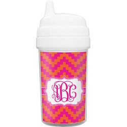 Pink & Orange Chevron Sippy Cup (Personalized)