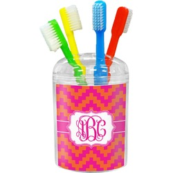 Pink & Orange Chevron Toothbrush Holder (Personalized)