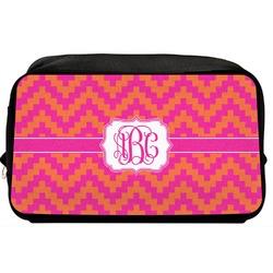 Pink & Orange Chevron Toiletry Bag / Dopp Kit (Personalized)