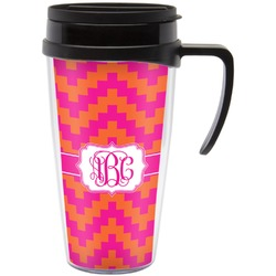 Pink & Orange Chevron Travel Mug with Handle (Personalized)