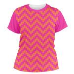 Pink & Orange Chevron Women's Crew T-Shirt (Personalized)