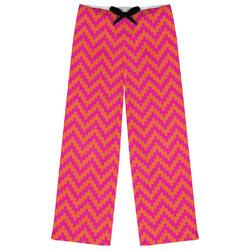 Pink & Orange Chevron Womens Pajama Pants - XL (Personalized)