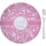 "Floral Vine Glass Appetizer / Dessert Plates 8"" - Single or Set (Personalized)"
