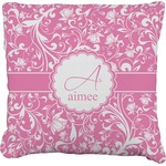 Floral Vine Faux-Linen Throw Pillow (Personalized)