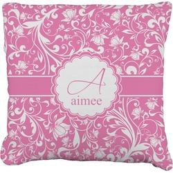 Floral Vine Faux-Linen Throw Pillow (Personalized)