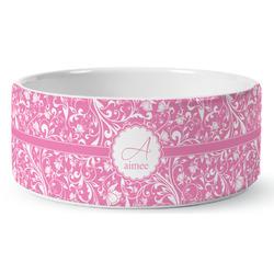 Floral Vine Ceramic Pet Bowl (Personalized)