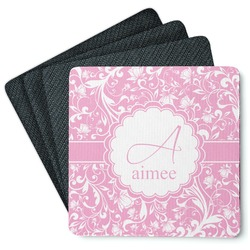 Floral Vine Square Rubber Backed Coasters - Set of 4 (Personalized)