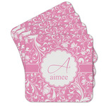 Floral Vine Cork Coaster - Set of 4 w/ Name and Initial