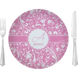 "Floral Vine Glass Lunch / Dinner Plates 10"" - Single or Set (Personalized)"