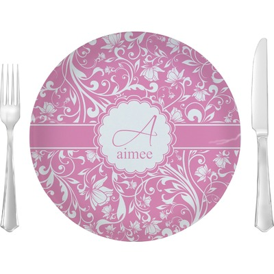 "Floral Vine 10"" Glass Lunch / Dinner Plates - Single or Set (Personalized)"