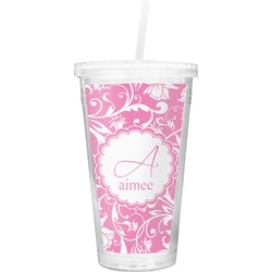 Floral Vine Double Wall Tumbler with Straw (Personalized)