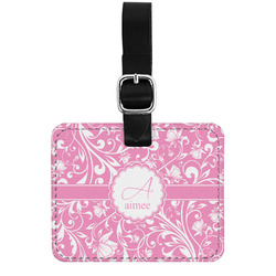 Floral Vine Genuine Leather Luggage Tag w/ Name and Initial