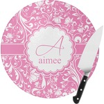 Floral Vine Round Glass Cutting Board (Personalized)