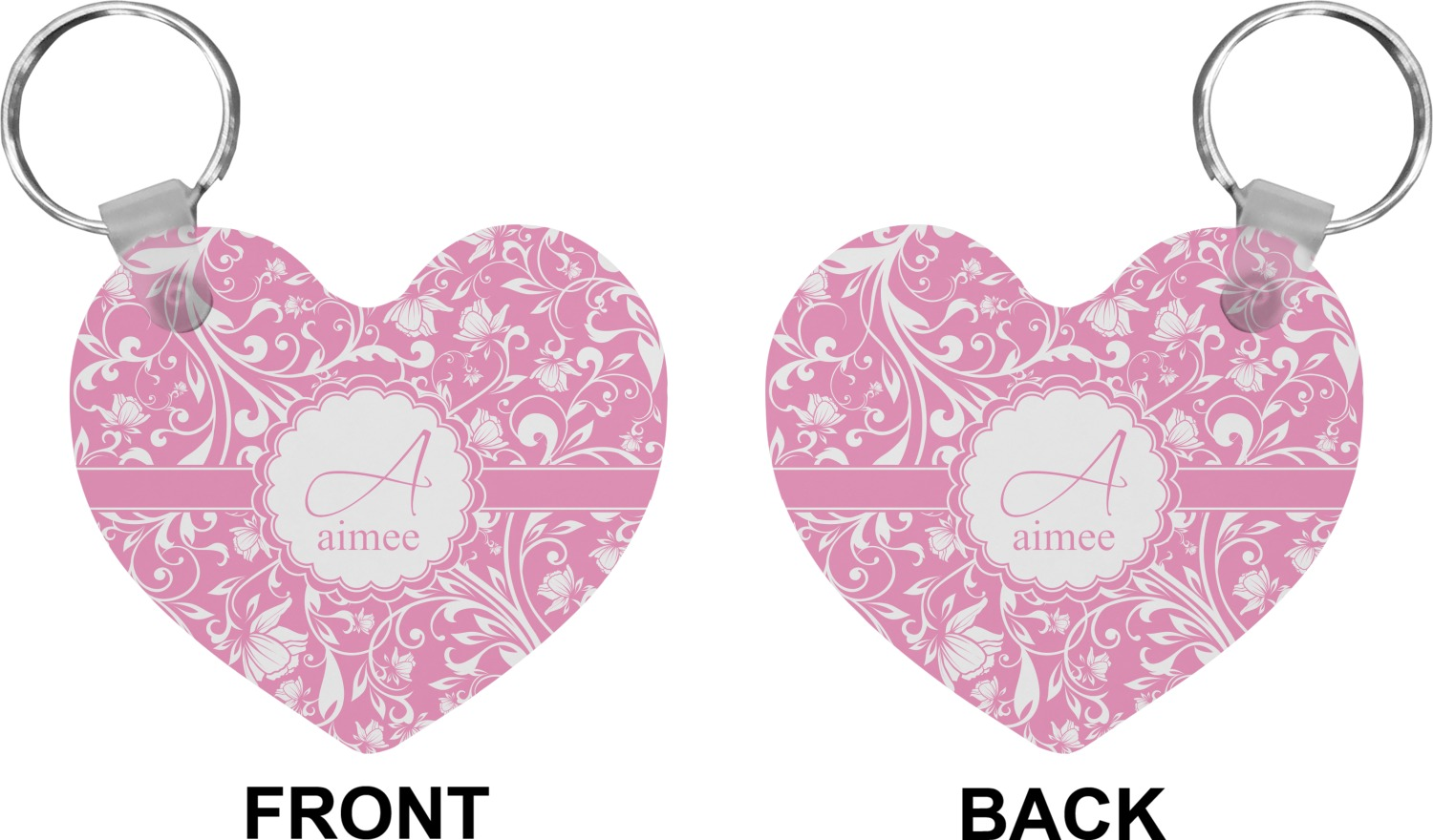 Floral Vine Heart Keychain Personalized You Customize It