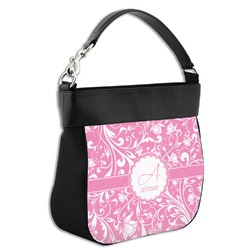 Floral Vine Hobo Purse w/ Genuine Leather Trim w/ Name and Initial