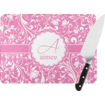 Floral Vine Rectangular Glass Cutting Board (Personalized)