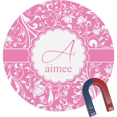 Floral Vine Round Fridge Magnet (Personalized)