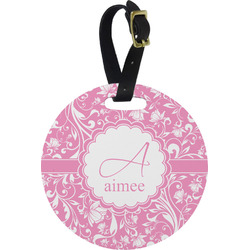 Floral Vine Plastic Luggage Tag - Round (Personalized)