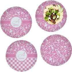 """Floral Vine Set of 4 Glass Lunch / Dinner Plate 10"""" (Personalized)"""