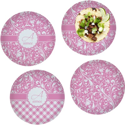"Floral Vine Set of 4 Glass Lunch / Dinner Plate 10"" (Personalized)"