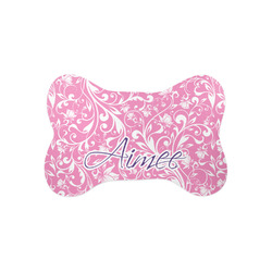 Floral Vine Bone Shaped Dog Food Mat (Small) (Personalized)