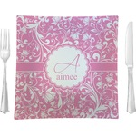 "Floral Vine Glass Square Lunch / Dinner Plate 9.5"" - Single or Set of 4 (Personalized)"
