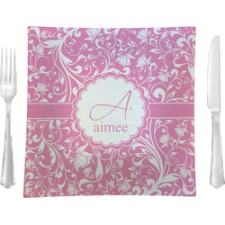 """Floral Vine Glass Square Lunch / Dinner Plate 9.5"""" - Single or Set of 4 (Personalized)"""