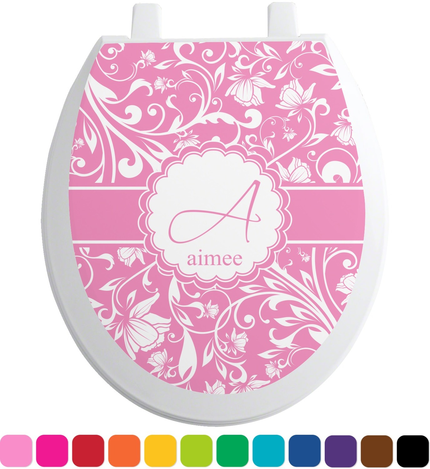 floral vine toilet seat decal personalized you. Black Bedroom Furniture Sets. Home Design Ideas