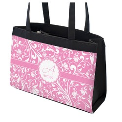 Floral Vine Zippered Everyday Tote w/ Name and Initial