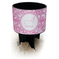 Floral Vine Black Beach Spiker Drink Holder (Personalized)