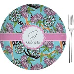 "Summer Flowers Glass Appetizer / Dessert Plates 8"" - Single or Set (Personalized)"