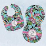 Summer Flowers Baby Bib & Burp Set w/ Name and Initial
