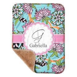 """Summer Flowers Sherpa Baby Blanket 30"""" x 40"""" (Personalized)"""