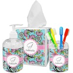 Summer Flowers Acrylic Bathroom Accessories Set w/ Name and Initial