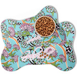 Summer Flowers Bone Shaped Dog Food Mat (Personalized)
