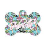 Summer Flowers Bone Shaped Dog ID Tag (Personalized)