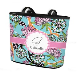 Summer Flowers Bucket Tote w/ Genuine Leather Trim (Personalized)