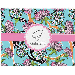 Summer Flowers Woven Fabric Placemat - Twill w/ Name and Initial