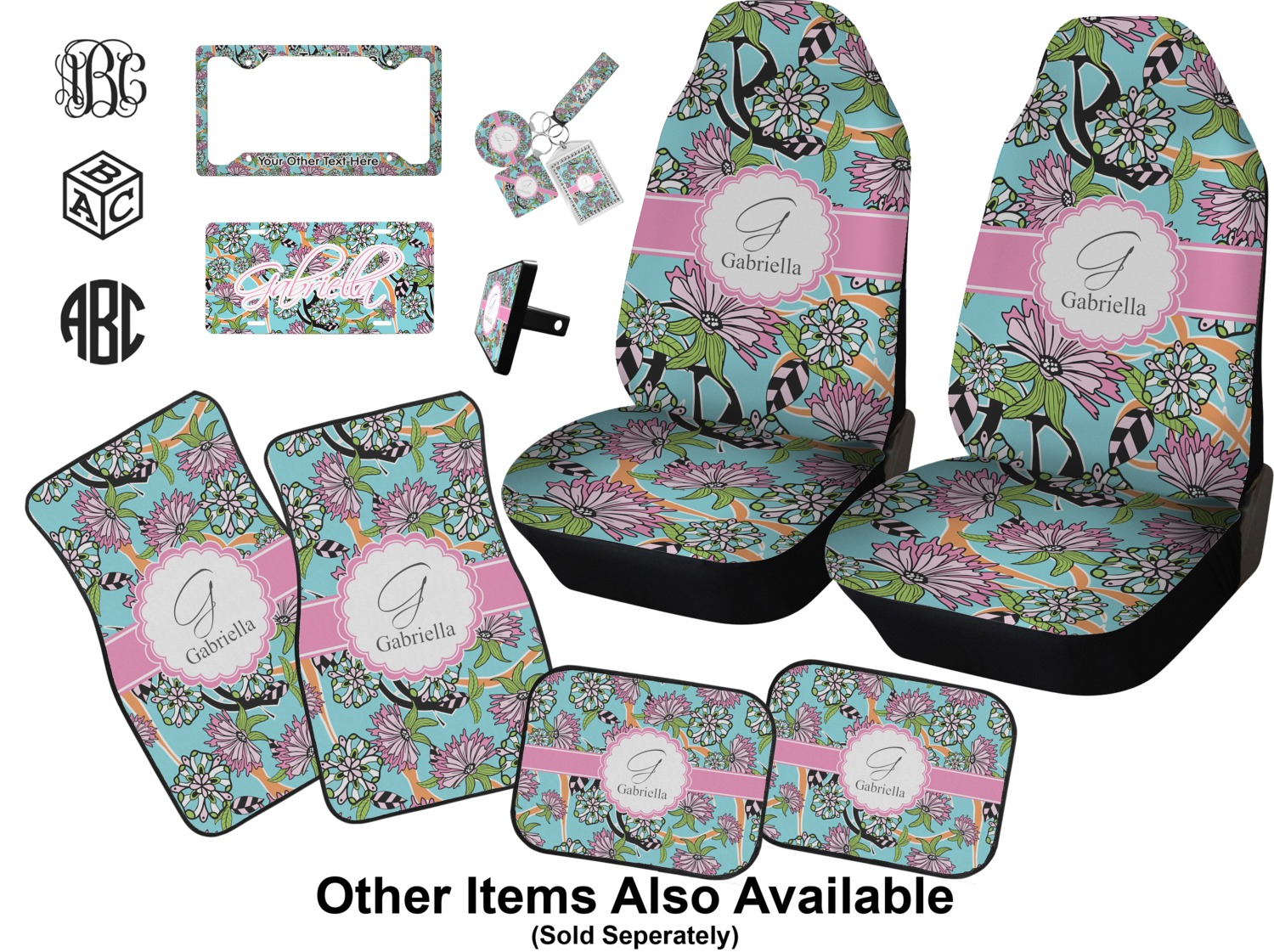 Summer Flowers Car Seat Covers Set Of Two Personalized