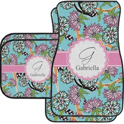Summer Flowers Car Floor Mats Set - 2 Front & 2 Back (Personalized)