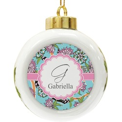 Summer Flowers Ceramic Ball Ornament (Personalized)