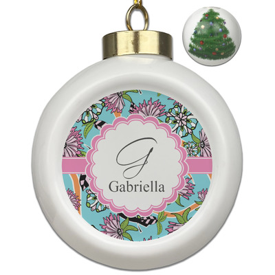 Summer Flowers Ceramic Ball Ornament - Christmas Tree (Personalized)