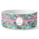 Summer Flowers Ceramic Dog Bowl (Personalized)
