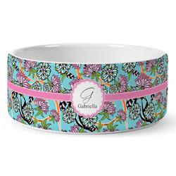 Summer Flowers Ceramic Dog Bowl (Personalized)