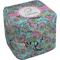 Summer Flowers Cube Pouf Ottoman (Personalized)