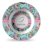 Summer Flowers Plastic Bowl - Microwave Safe - Composite Polymer (Personalized)